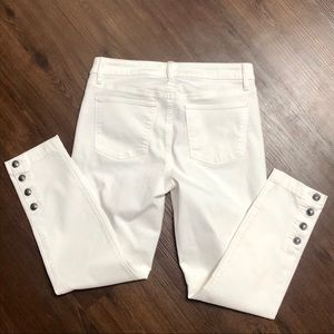 Talbots Flawless Five Slim Ankle White w Buttons